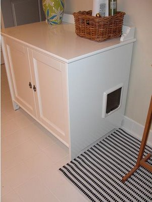 Savvy housekeeping ikea cabinet to hide the cat box - Meuble litiere pour chat ...