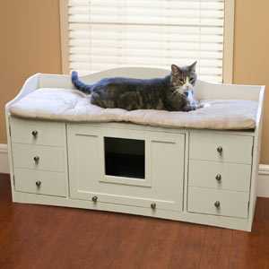 Savvyhousekeeping Attractive Pet Cat Furniture Hiding Cat Litter Box