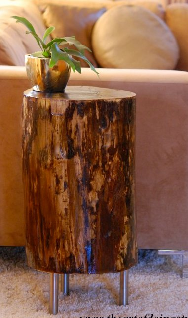 Savvy housekeeping from tree stump to side table for Diy wood stump side table