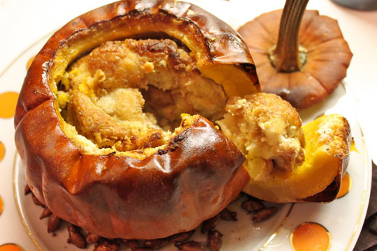 Savory Stuffed Pumpkin . Fill the center of the pumpkin with bread ...