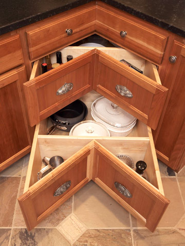 Or this cool way of hiding the microwave (or another appliance) & Savvy Housekeeping » Kitchen Storage Ideas