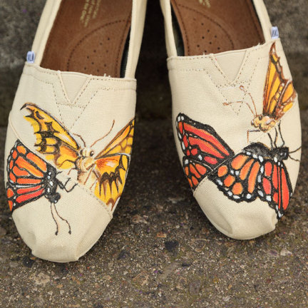 Savvy Housekeeping 187 Painted Butterfly Shoes