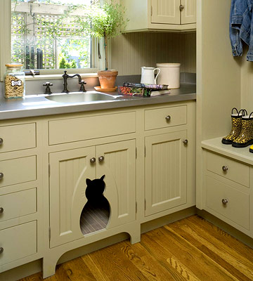 Keep The Cat Food And Water Out Of Sight With This Adorable Cat Friendly Addition To The Kitchen
