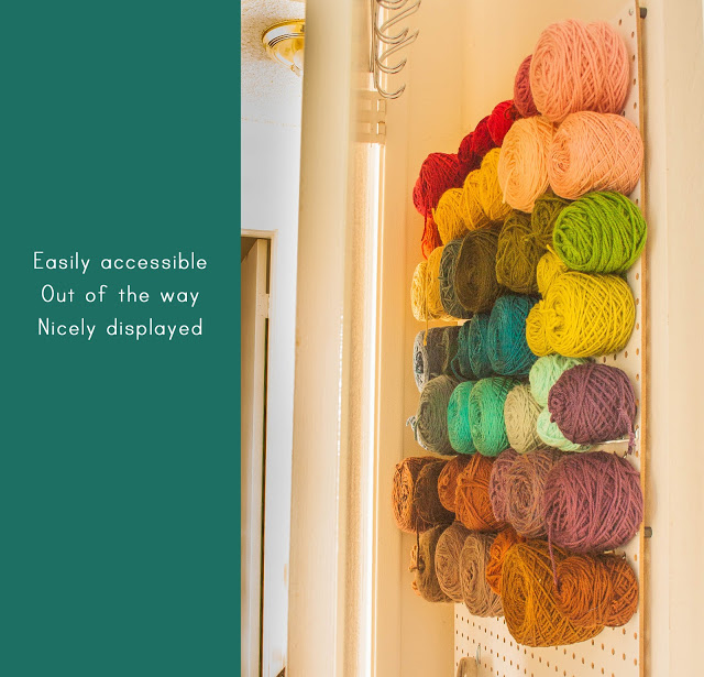Put up a pegboard and store the yarn on hooks. & Savvy Housekeeping » 4 Clever Yarn Storage Ideas