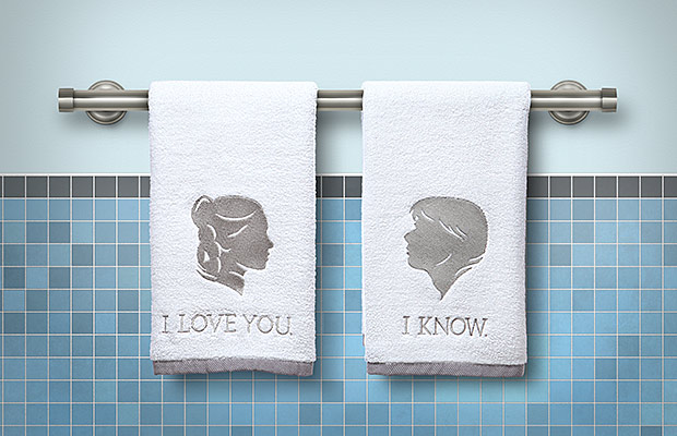 savvy housekeeping star wars han and leia bathroom hand towels. Black Bedroom Furniture Sets. Home Design Ideas