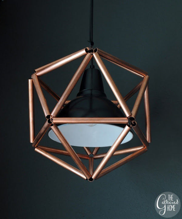 Savvy housekeeping make your own copper pipe icosahedron for Diy conduit light fixture