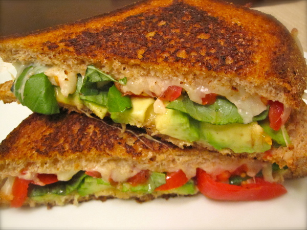 Avocado Caprese Grilled Cheese : avocado, tomatoes, and cheese.